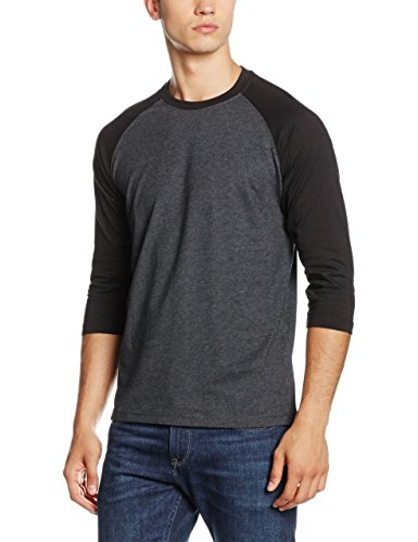 Urban Classics Herren T-Shirt Contrast 3/4 Sleeve Raglan Tee, Mehrfarbig (Cha/Blk 314), Large