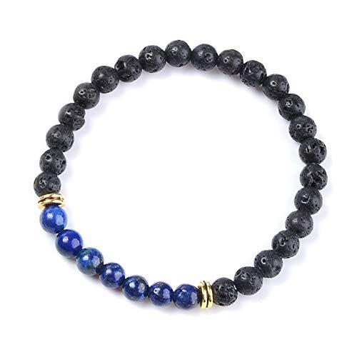 (LVONTRE 6mm Trending Black and Royal Blue Bead Jewellery Lapis Lazuli Bracelet Energy Volcanic Lava Gemstone)