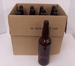 22oz Crown Cap Amber Longneck Bottles, Case of 12 by Home Brew Ohio