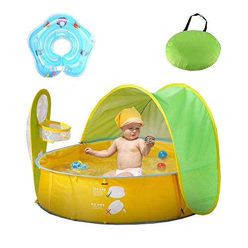Hengwei Pop Up Baby Beach Tent and Pool Tent UV Protection Sun Shelters,Portable Kids Ball Pit Play Tent Indoor Outdoor Baby Paddling Pool Beach Canopy Tent Garden With One Free Swimming Float