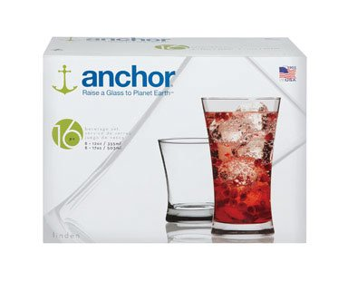 Anchor Hocking Linden 16 Piece Glassware Set - Linden 12 Piece