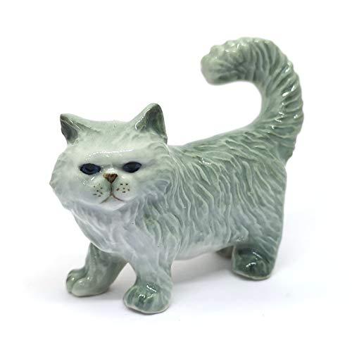 ZOOCRAFT Handmade Miniatures Collectible Ceramic Porcelain Gray Persian Cat - Persian Ceramic