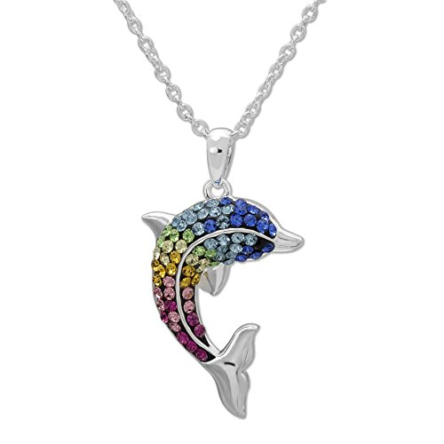 Rainbow Crystal Pendant - Crystalogy Women's Jewelry Silver Plated Brass Rainbow Crystal Dolphin Fashion Pendant Necklace, 18
