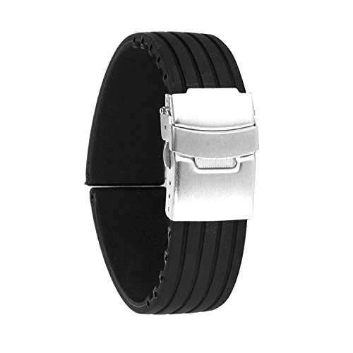 Zhahender Waterproof Soft Watch Strap Buckle-Black