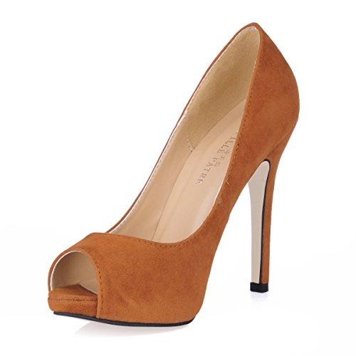 Haga clic en las mujeres caen en una tierra roja temperamento y discotecas grandes rojo negro satinado de alta Heel Shoes punta pescado Brown