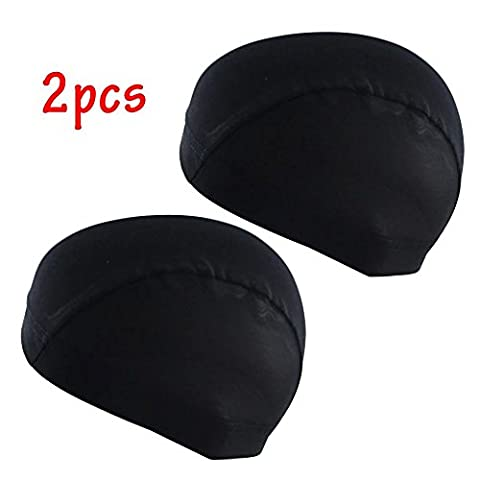 EYX Formula Pack of 2 Neutral Mech Wig Cap Spandex Net Dome Cap for Cover Wig,Soft Stretch Black Wig Cap for Protecting Hair