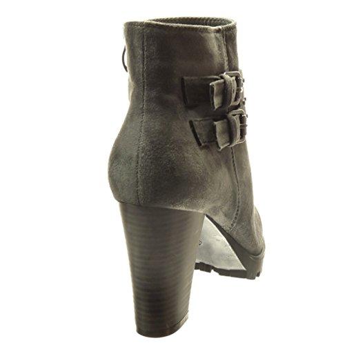 Angkorly - Scarpe da Moda Stivaletti - Scarponcini rangers donna borchiati fibbia Tacco a blocco tacco alto 8.5 CM - soletta Foderato di Pelliccia - Grigio