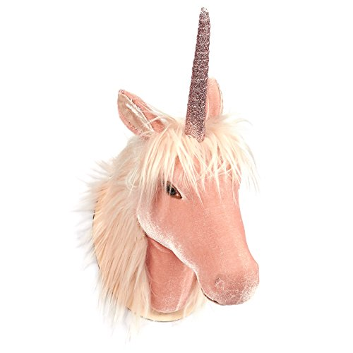 Juvale Unicorn Head Wall Mount - Wall Art Room Decor, Girls, Pink - 8.5 x 16.2 x 7 inches