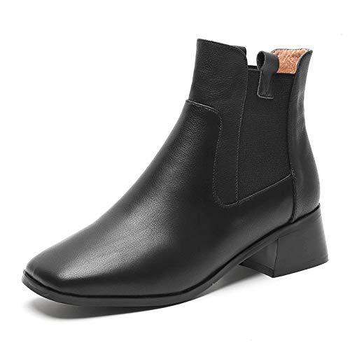 Botines de tacón Cuadrado con Punta Cuadrada para Mujer, Botines Cortos, Negro cálido, 34: Amazon.es: Zapatos y complementos