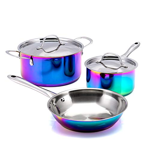 Mainstays Rainbow Iridescent 5 Piece Cookware Set! Includes 9.5 Inch Skillet, 2.2 Qt Sauce Pan With Lid, And 5 Qt Dutch Oven With Lid! Dishwasher Safe And Colorful Stainless Steel Cookware!