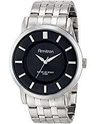 Armitron Mens 20/4962BKSV Black Sunray Dial Silver-Tone Bracelet Watch