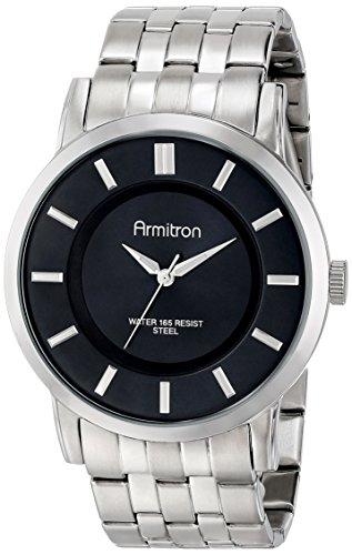 Armitron Men's 20/4962BKSV Black Sunray Dial Silver-Tone Bracelet Watch