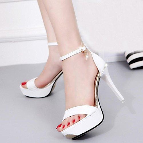 Transer® Damen Open Toe High Heels Niedlich Sandalen Flach Sandalen (Bitte achten Sie auf die Größentabelle. Bitte eine Nummer größer bestellen. Vielen Dank!) Weiß