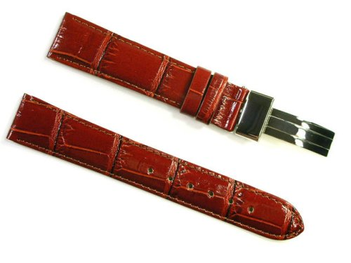 BANDA PASTEL GATOR LEATHER WATCHBAND WITH STAINLESS FOLDING CLASP DEPLOYANT BUCKLE DESIGN-REAL ITALIAN CALF LEATHER-18 mm BROWN COLOR