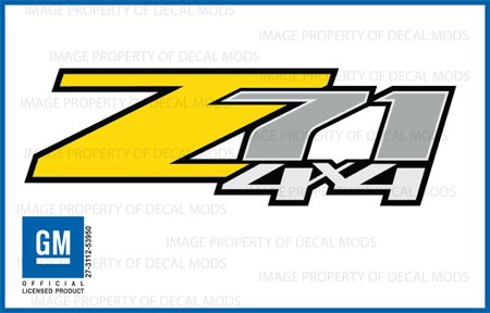 Chevy Silverado Z71 4x4 YELLOW decals stickers - FY (2007-2013) bed side 1500 2500 HD (set of 2)