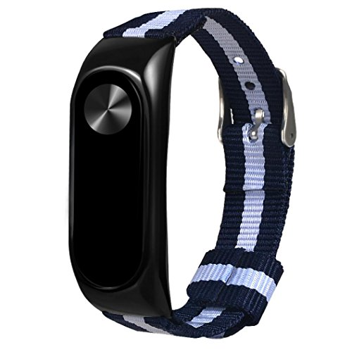 Price comparison product image Boofab Sport Watch Band,  Fashio Navy Nylon Canvas Sport Strap Wristband Replacemen For Xiaomi Mi Band 2 (A)