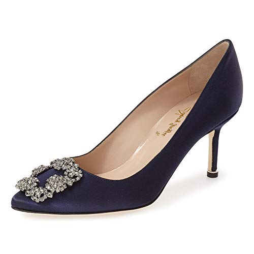 Matte Satin Rhinestone Shoe - NJ Women Wedding Closed Pointed Toe Thin High Heel Pumps Slip on Bridal Dressy Rhinestone Stiletto Faux Satin Shoes Size 13 Navy