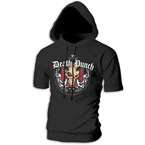 Tシャツ シャツ ティーシャツ スウェットシャツ パーカー ストレッチ メンズ 半袖 フード付き ファイヴ フィンガー デス パンチ スポーツtシャツ 吸汗速乾 トレーニング ジムtシャツ 通気性 黒