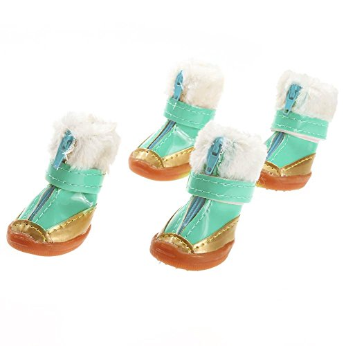 4pcs/set Candy Color Warm Pet Dog Waterproof Shoes Winter Boots Cotton Shoe - 5