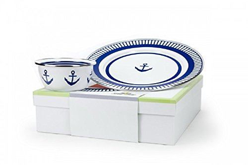 Golden Rabbit Enamelware, Eden Roc Anchor Nautical Dip Set, 2-piece giftboxed set includes 12½ inch Charger & 3 cup Salad Bowl, 13½ x 13½ x 4 inch gift box