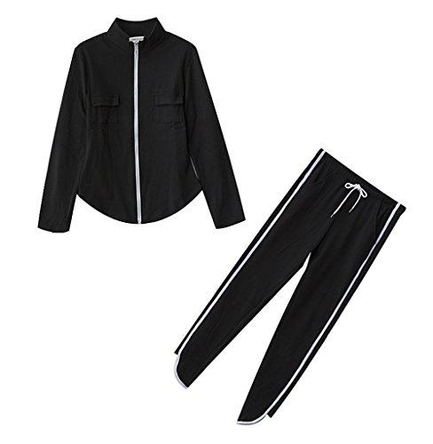 JOTHIN 2017 Donna Corea Autunno Zip Manica lunga Nero Giacca Allacciatura Pantaloni 2 Pezzi Strisce Sport Giacche Calzoni due Pezzi Casual Eleganti Tuta