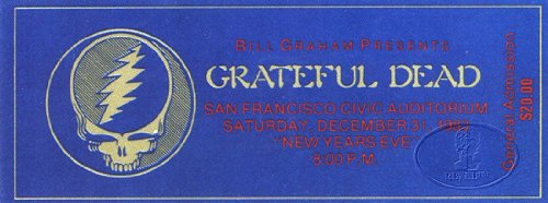 Grateful Dead 1983 New Years Promo Concert Ticket San Francisco Civic Auditorium