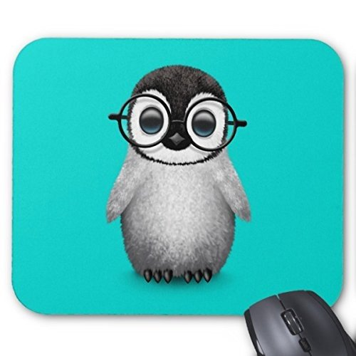 Custom Cute Baby Penguin Wearing Eye Glasses On Blue Mouse Pad (260 Eyeglasses)