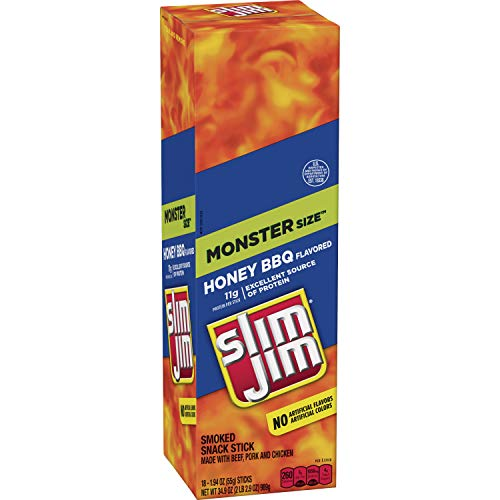 Slim Jim Monster Smoked Meat Sticks, Honey BBQ, 1.94 Oz. Sticks, 18 Count
