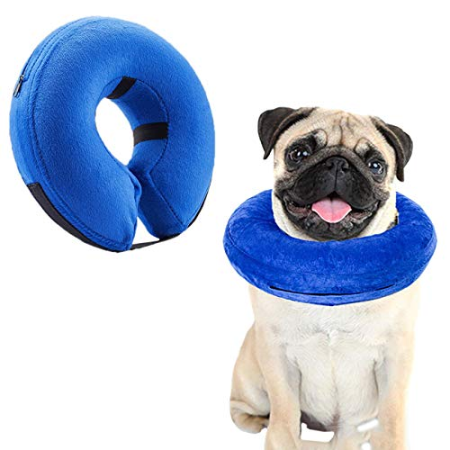 Uheng Protective Inflatable Collar for Dogs Cats, Soft Pets Adjustable Recovery E-collar Cone for Small Medium Large Puppy, Prevent From Touch Stitches Bite for Surgery Wound (Small - Plush Collar