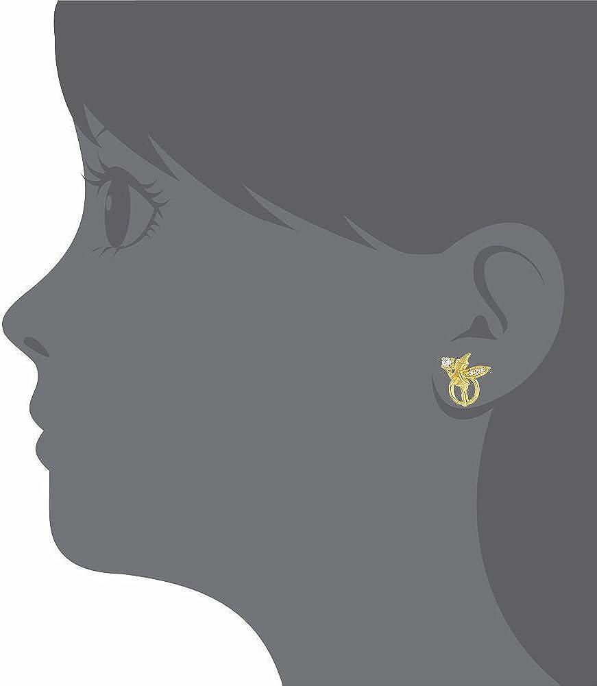 F/ée Clochette Boucles doreille a vis cristal clair Ton Or