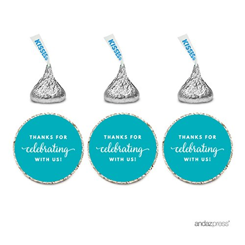 Andaz Press Chocolate Drop Labels Trio, Fits Hershey's Kisses Party Favors, Thanks for Celebrating With Us, Aqua, (Cheap Personalized Party Favors)