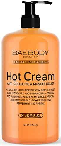 Baebody Anti Cellulite Cream & Pain Relief Cream for Muscle Relaxation. Anti-Cellulite Hot Cream Treatment, Firms Skin, Muscle Rub and Muscle Massager Gel. Huge 9 Oz.