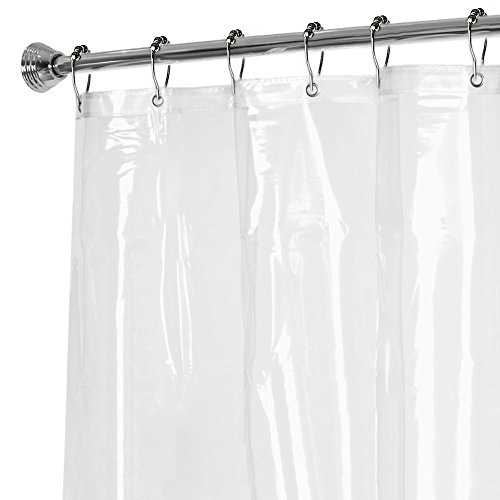 PEVA Mildew Resistant Shower Curtain Liner, 12 pcs Stainless Steel Shower Curtain Hooks Combo, Mildew-Free Water Repellent ,