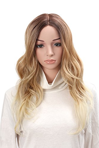 OneDor 24'' Curly Kanekalon Premium Synthetic Lace Hair Wig (Gradient Bleach Blonde) by Onedor