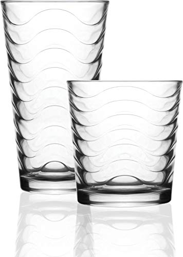 (Circleware 40139 Pulse Huge 16-Piece Glassware Set of Highball Tumbler Drinking Glasses and Whiskey Cups 8-15.75 oz & 8-12.5 oz for Water, Beer, Juice Ice Tea Beverages, 16pc, Clear)