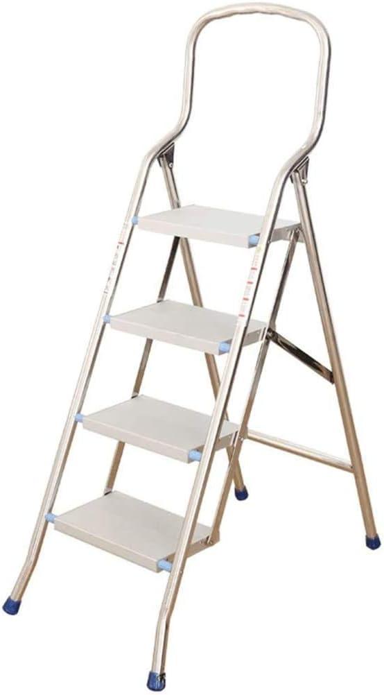 MTCGH Step Stool,Home Folding Stool,Multifunctional Stool,Folding Ladder Stainless Steel Folding Ladder Indoor Four-Step Five-Step Ladder Thick Aluminum Alloy Herringbone Ladder Ladder Step Stool