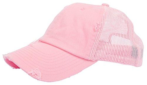 (DRY77 Trucker Mesh Baseball Cap Mens Womens Vintage Distressed 6 Panels Twill Hat, Pink)