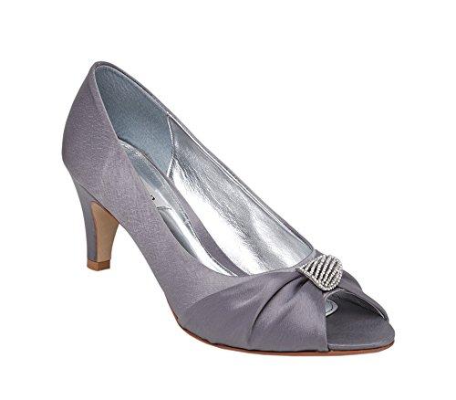 Court Comfort Trim Fit Lexus with Toe Peep Diamante Grey Shoe Ladies qXHOxwx