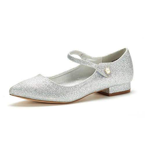 DREAM PAIRS Women's Sole_Silky Silver/Glitter Fashion Low Stacked Ankle Straps Flats Shoes Size 6.5 M US
