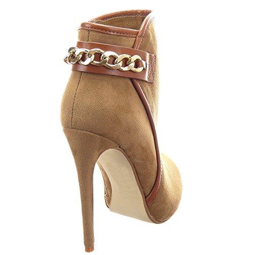 Sopily - Zapatillas de Moda Botines Low Boots Stiletto Low boots Tobillo mujer Cadena 12 CM - Camel