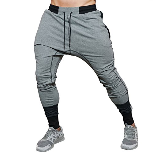 Mech-Eng Men's Workout Gym Training Running Jogger Pants Trousers With Zip Pocket(Grey S/Tag L) (Pocket Trouser)