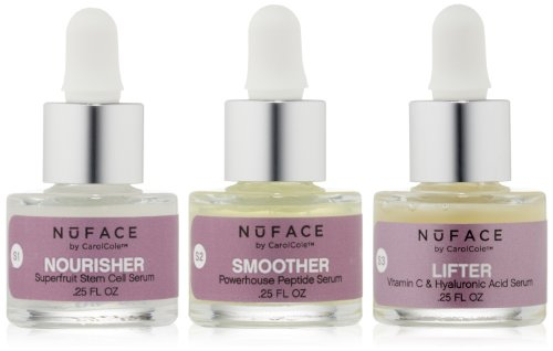 (NuFACE Infusion Serum Trio | Nourisher, Smoother, and Lifter |Reduce Wrinkles, Tone Face, Rejuvenate Skin | 3 (.25oz) Bottles)