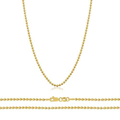 "Orostar 14K Yellow Gold 1.2mm Diamond Cut Bead Chain Necklace, 16"" - 30"" (20)"