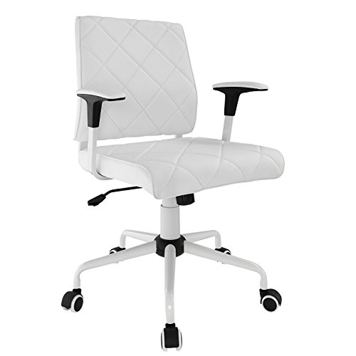 - Modway Lattice Modern Faux Leather Mid Back Executive Office Chair In White
