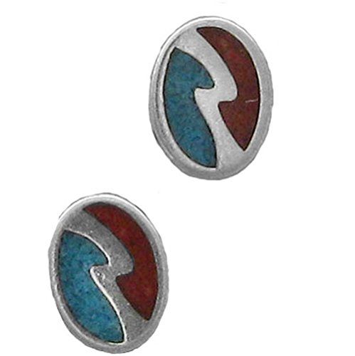 925 Sterling Silver Oval Lightening Bolt, Turquoise And Red Inlay Post Studs Earrings