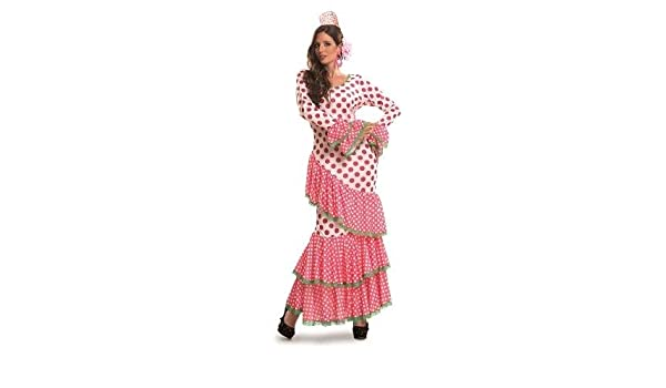 CRAZY THE PARTY Disfraz de Sevillana Fucsia Lunares: Amazon.es ...