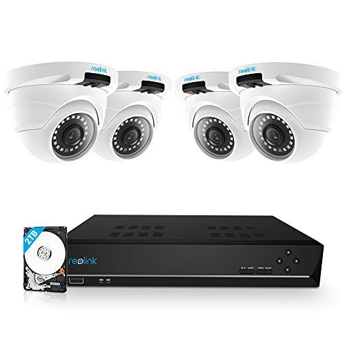(Reolink 8CH 5MP PoE Home Security Camera System, 4 x Wired 5MP Outdoor PoE IP Cameras, 5MP 8 Channel NVR Security System w/ 2TB HDD for 7/24 Recording RLK8-420D4-5MP)