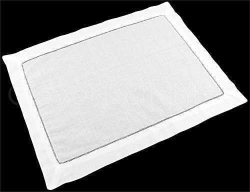 CleverDelights 6 Pack White Linen Hemstitched Placemats - 14 x 20 - 100% Pure Linen