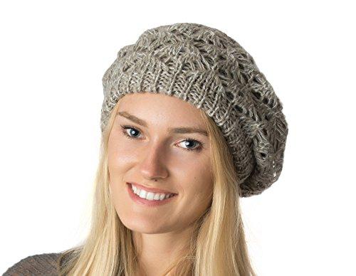 AN Fall Winter Knit Beanie Beret Hat for Women Soft Knit Lining Many Styles (Beige Speckled Crochet)