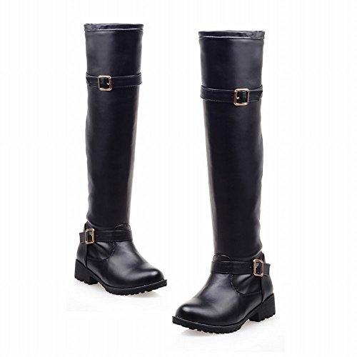 Carolbar Womens Fashion Comfort Cosplay Zipper Knee High Buckle Low Heel Tall Motorcycle Boots Black M5v8Whxkb7